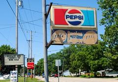 Pepsi & Coke (Cragin Spring) Tags: wisconsin wi unitedstates usa unitedstatesofamerica fonddulac fonddulacwi fonddulacwisconsin sign engies pepsi pepsicola soda sodapop pop cola coke cocacola road