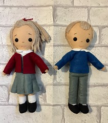 School girl and boy ready for their new homes