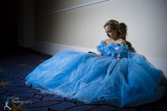 Some Day My Prince Will Text Back... (FightGuy Photography) Tags: cosplay cosplayer bluedress cinderella cellphone strobist conventioncenter katsucon blonde ballgown fightguyphotography