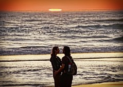 Lovers (pete4ducks) Tags: oregon oregoncoast summer sunset water waves beach people 2017 orange sky pacificocean manzanita on1pics