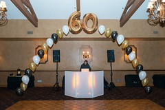 60th birthday (PartiLife) Tags: singlearch foilarch 60thbirthday centerpieces black whiteandgold