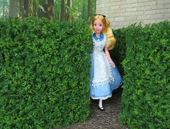 5. In the Queen's Maze (Foxy Belle) Tags: doll disney alice wonderland diorama 1999 mattel outside scrapbook paper hedge queen maze paint roses red plants 1 16 playscale barbie