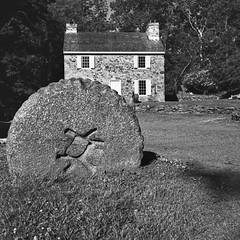 Grindstone and Miller's house (Gregg Obst) Tags: newlinmill glenmills delawarecounty pennsylvania bronicasqa mediumformat 120 film zensanon65mmf4pslens kodaktrix hc110 hc1101100semistanddeveloped1hour greggobst 2017
