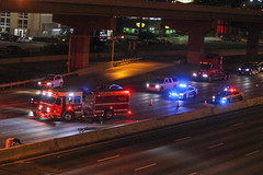 Vehicle Rollover into a light standard on I-35E @ Royal Lane in Dallas (Shane Murphy - Emergency Incident Photographer) Tags: dallas fire rescue dfr dfd dpd dfw response emergency structure working accident mva mvc collision crash entrapment rollover extrication damage highway freeway 135e royal texas tx drivers driving firefighter fighter firefighters firefighting 911 responder help smoke lights photojournalism fireground buff ground news breaking first arrival pump engine ladder truck aerial defensive offensive ops operations battalion