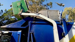 Noise (adrianbridle43) Tags: blue green trees garbage truck plain jet