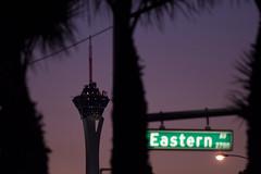 Las Vegas (FreezeTimeDigital) Tags: lasvegas vegas sincity sky night twilight sunset eastern street palmtrees thestratosphere