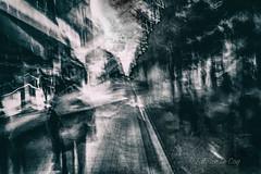 Like a stoic noble prince, wait for her (Fabrice Le Coq) Tags: vert bw flou bougé noiretblanc noir blanc street rue batiment ville fabricelecoq ciel nuage