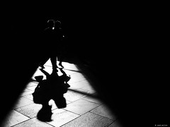 One moment in time (René Mollet) Tags: time shadow silhouette ombre schatten blackandwhite bw street streetphotography spot urban underground urbanstreet urbanlife renémollet man woman step
