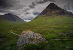 Path to the mountains (Coisroux) Tags: glencoe scotland paths hiking walkways boulders summit windingpath grasses d5500 nikond aonacheagach ridges sky clouds
