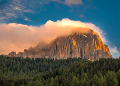 Mountain With Evening Cloud (bjorbrei) Tags: cloud clouds sky evening sunset forest mountain sassolungo selva wolkenstein valgardena gröden gherdëina dolomites dolomiten dolomiti tirol tyrol tirolo italy italia
