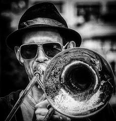 One man brass section (Andy J Newman) Tags: gig portrait street musician bandw bw blackandwhite trombone man silverefex monochrome candid bristol docks harbourfestival busker music om olympus omd england unitedkingdom gb