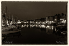 Honfleur by night (Explored) (Normann Photography) Tags: calvadosdepartment charming europe france honfleur port boat charmant city harbor latenight monochrome sailboats town normandie fr