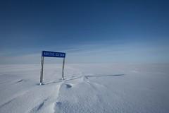 Arctic Ocean (Kristaaaaa) Tags: arctic ocean iceroad tuktoyaktuk nwt canon canada winter ice snow sign blue