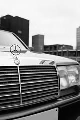 Thump! Thump! Thump! Thump! (Barnaby Nutt) Tags: 260e fujineopanacros leicam6 mercedesbenz neopantastic w124 rutland street car park grille silver star bonnet badge
