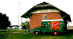 Railway Express Agency Truck (Laurence's Pictures) Tags: north dakota railroad museum train railway transportation freight bismarck burlington northern pacific soo line historic car