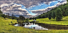 IMG_3979-81Ptzl1scTBbLGER3M (ultravivid imaging) Tags: ultravividimaging ultra vivid imaging ultravivid colorful canon canon5dmk2 clouds stormclouds sunsetclouds scenic vista rural fields farm summer evening pa pennsylvania panoramic painterly pond reflections water landscape sky