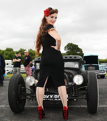 Holly_5551 (Fast an' Bulbous) Tags: girl woman pinup model hot sexy car vehicle automobile classic american dragstalgia custom hotrod show santa pod long brunette hair wiggle dress high heels sitilettos stockings nylons