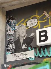 Hillary Clinton / Go to hell (aestheticsofcrisis) Tags: street art urban interventions streetart urbanart guerillaart graffiti postgraffiti barcelona spain raval europe wheatpaste pasteup