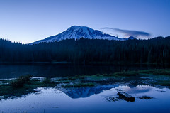 Reflection Lake - Mount Rainier National Park (adcristal) Tags: mountrainier mtrainier mount mt rainier mountrainiernationalpark nationalpark national park nationalparkservice nps glacier vista mountain mountaineering hiking snow summer ashford washington wa pacificnorthwest nikond7000 tokina1116mmf28 reflectionlake reflectionlakes reflection lake lakes blue hour sunset