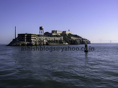 View of Alcatraz from a boat that is leaving the island (Ashish A) Tags: alcatraz harbour island islandinsanfrancisco islandprison prison prisonisland rock sanfrancisco sanfranciscoharbor therock water