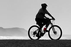 Red water (Mikey Down Under) Tags: bulli beach nsw illawarra australia winter bicycle cyclist man riding silhouette bike path escarpment red water bottle blackandwhite bw monochrome