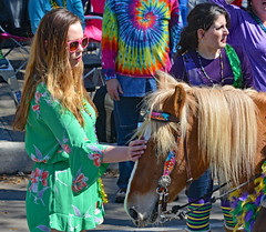 Pony Petting (BKHagar *Kim*) Tags: bkhagar mardigras neworleans nola la louisiana uptown outdoor street napoleon sunglasses crowd beads parade pony horse