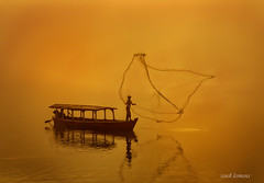 pangalengan (sandilesmana28) Tags: sunrise water orange fisher man pangalengan west java indonesia