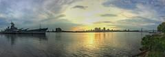 USS New Jersey & Philadelphia skyline (Snakewinter) Tags: battleship history river sunset navy ussnewjersey uss delaware ship ww2 philadelphia newjersey