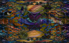 La ciudad submarina (seguicollar) Tags: imagencreativa photomanipulación art arte artecreativo artedigital virginiaseguí gatos mariposa lepidóptero libélula agua water escultura ranas lotos estanque flores flower plantas