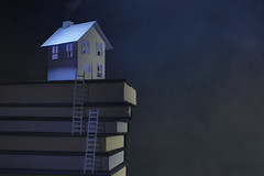 cliff top house... (CatMacBride) Tags: house cliff ladder night paper papercraft