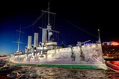 Russian cruiser Aurora (filchist) Tags: russian cruiseraurora stpetersburg navy revolutionship night cruiser крейсераврора петербург россия