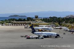 The Apron & Terminal (© Freddie) Tags: skiathos thessaly sporades aegean greece jsi lgsk ©freddie fjroll boeing b737 bluexpress ibpai airbus a321 thomascook gtcdo skiathosinternationalairport