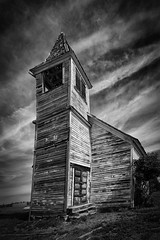 Leaning Tower of Flora (coyote and the gypsy) Tags: methodist flora abandoned oregon wallowacounty church monochrome rural wooden architecture building bw historic rustic blackandwhite
