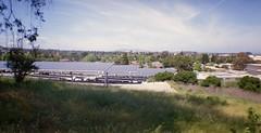 shine & shade (Riex) Tags: solarroof solarpanels solarenergy parking sanmateocountycommunityhospital landscape paysage sanmateo sfba california californie lomography lomo belair x612 6x12 120 mediumformat moyenformat film 58mm