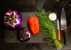 Serious intentions (Z!SL) Tags: vegetables vegetable cooking homecooking zeiss carlzeiss sonyphotographing sonnarte1824 sonnar2418za sel24f18z sony sonnar nex5r nex nex5 sonyflickraward sonynex indoor food green red kitchen home utensils black eggplant aubergine pepper dill garlic minoltaemount emount mirrorless savory