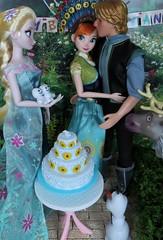 Celebrating with Friends (Foxy Belle) Tags: doll disney frozen fever diorama 16 birthday anna kristoff boyfriend romance embrace elsa sister