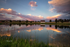 Barn at sunset (Canon Queen Rocks (1,670,000 + views)) Tags: barn water reflections sky scenery scenic structure trees views vista clouds colours montana bozeman fourcorners usa landscape lake landscapes landschaft grass vacation
