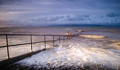 Salterstown Pier 21Jul2017 3-2 (Helen Mulvey) Tags: salterstown salterstownpier pier sea waves high tide hightide handrail beach coastal photography outdoor landscape seascape water splash nikon d5100 tripod people brave swimming louth ireland