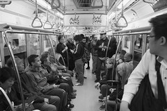 People on the Tokyo Subway, Asakusa (dckellyphoto) Tags: subway metro tokyo 2017 japan2017 train subwaycar monochrome asia 日本 にほん noiretblanc publictransportation publictransit publictransport transit crowded japan underground people group asakusa travel