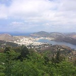 A view overlooking the sea surrounding the island of Samos.