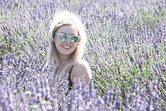 Smiling Theresa in a field of lavender flowers! (m01229) Tags: mounthood oregon unitedstates us lavendervalley fruitloop lavender flowers purple portrait