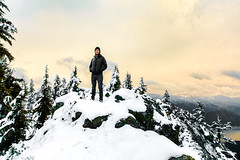 Keith at Mount Catherine Summit (Sara Dilley) Tags: mountains cascades pnw hiking landscape environmentalportrait portrait mountcatherine sunset snow winter trees nature naturallight canon canon5dmarkii man