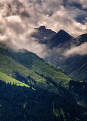 Two alpine huts (michaelreubi) Tags: alpine alps alpen mountain mountains clouds mood sunlight shadows peaks vallumnezia lumnezia graubünden grischa surselva morning forest trees tree switzerland schweiz