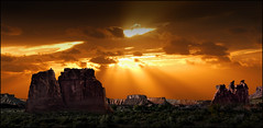 Utah Rays (Color Blind 56) Tags: utah rays wideangle elements13 rock red rugged landscape nikon horizon golden d7100 dramatic dark sky cb1956 archesnationalpark cloudshadows clouds harsh mountains mountain nationalpark natural wilderness