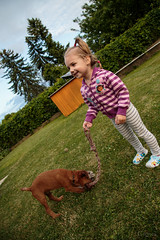 Playing (Crones) Tags: canon 6d canoneos6d canonef24105mmf4lisusm 24105mmf4lisusm 24105mm czech czechrepublic niece family andrea people child outdoor animal dog lars