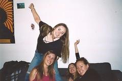 Nimp 6 (Justine Sla) Tags: party fête soirée night nimp toulouse bringue friends team nuit beer alcool alcohol smile rires memories souvenirs justine marie sandra clem girls appart argentique photo foto photographie pellicule pellicula film ricoh vintage