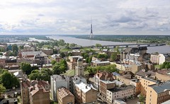 View from Academy of Sciences, Riga, Latvia (susiefleckney) Tags: riga latvia academyofsciences view panorama salubridge daugavariver televisiontower
