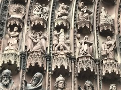 Strasbourg Cathedral - close up of some of the detailed carvings (including torture scenes!) (Patrissimo2017) Tags: