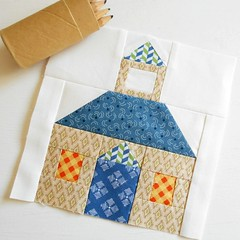 "6"" Schoolhouse Quilt Block (The Patchsmith) Tags: patchsmith quilt block quiltblock mugrug patchsmithpatterns patchwork applique"