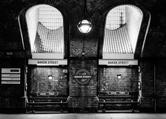 Subs' Bench (Douguerreotype) Tags: uk gb britain british england london city urban tube metro subway underground bench sign light bw blackandwhite mono monochrome transport travel brick victorian two 2 tiles